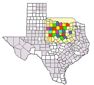 Map of All Texas Counties with Barnett Shale Counties Highlighted