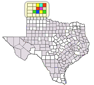 Map of All Texas Counties with Panhandle Counties Highlighted